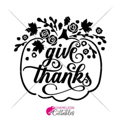 Give Thanks Floral Pumpkin Svg Png Dxf Eps Svg Dxf Png Cutting File