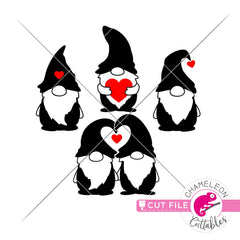 Gnomes Valentines day black svg png dxf eps jpeg SVG DXF PNG Cutting File