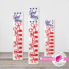 God bless America USA 4th of July vertical svg png dxf SVG DXF PNG Cutting File