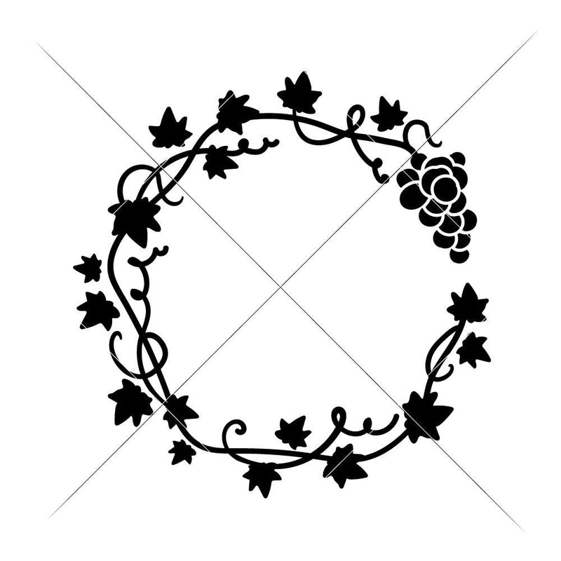 Grape Vine Wreath Svg Png Dxf Eps Svg Dxf Png Cutting File