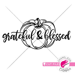 Grateful and blessed Pumpkin svg png dxf eps jpeg SVG DXF PNG Cutting File