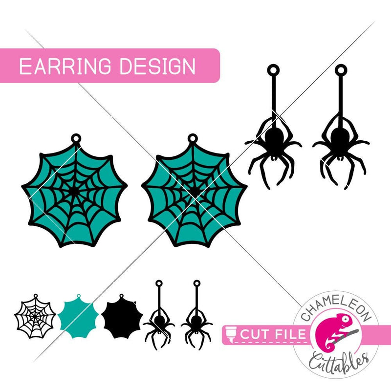 Halloween Spider Web Earring Template svg png dxf eps SVG DXF PNG Cutting File