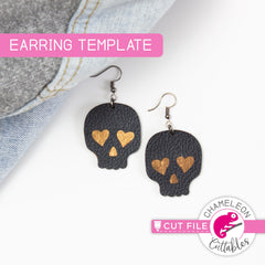 Halloween Sugar Skull Earring Template svg png dxf eps SVG DXF PNG Cutting File