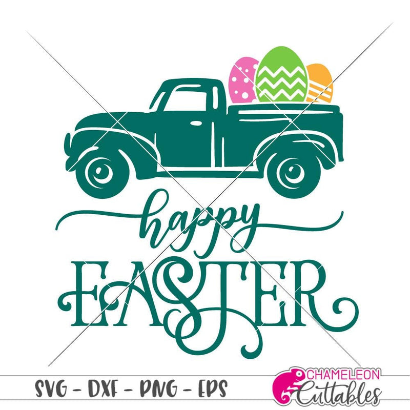 Happy Easter Truck with Eggs svg png dxf eps SVG DXF PNG Cutting File