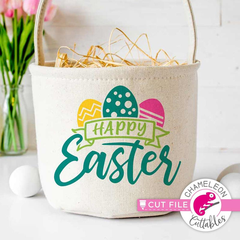 Happy Easter with banner svg png dxf eps SVG DXF PNG Cutting File