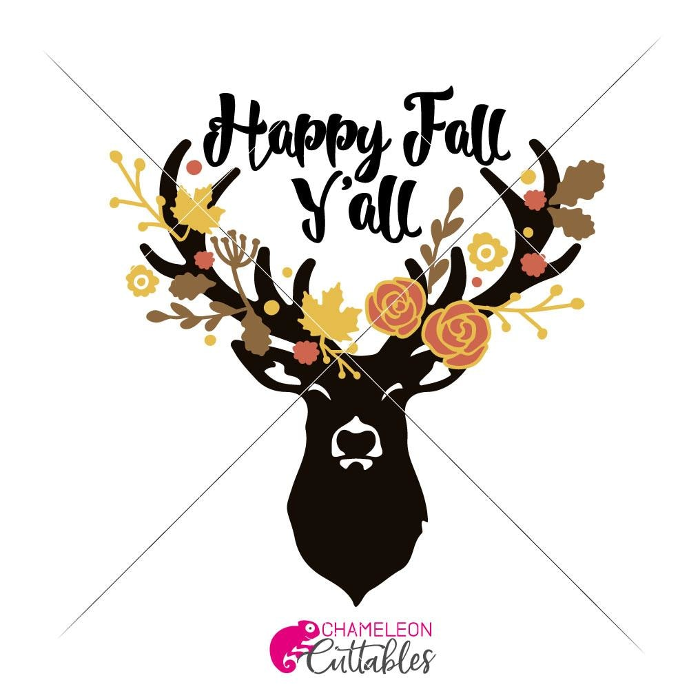 Happy Fall Y All Deer Svg Png Dxf Eps Chameleon Cuttables Llc