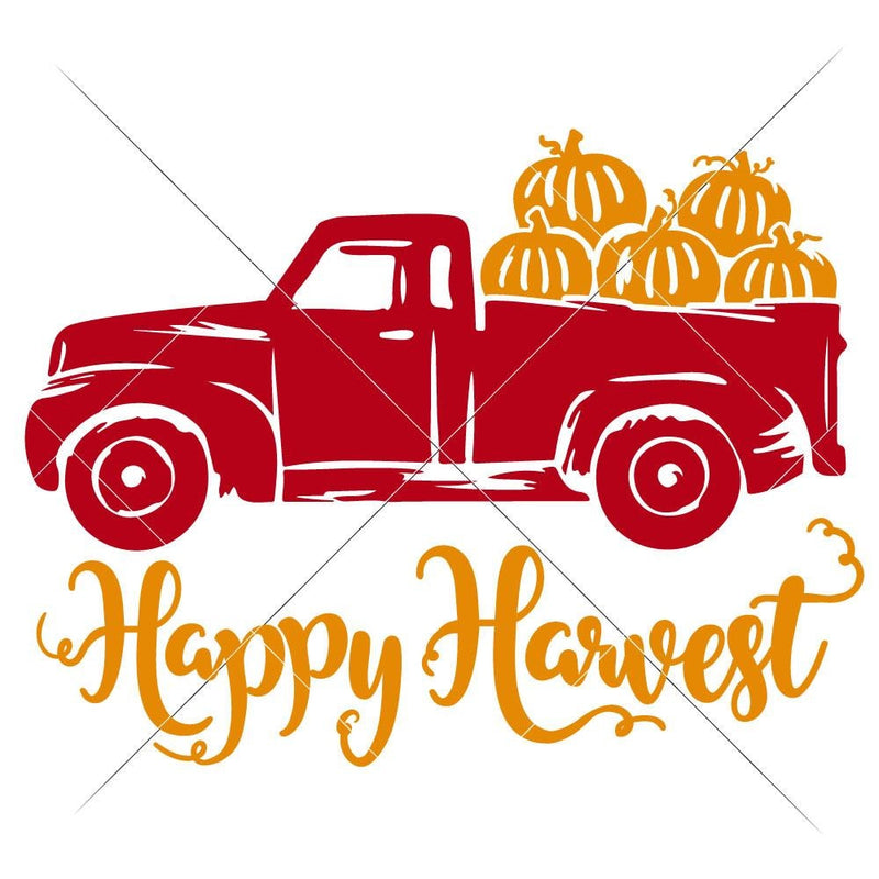 Happy Harvest Truck With Pumpkins Svg Png Dxf Eps Svg Dxf Png Cutting File