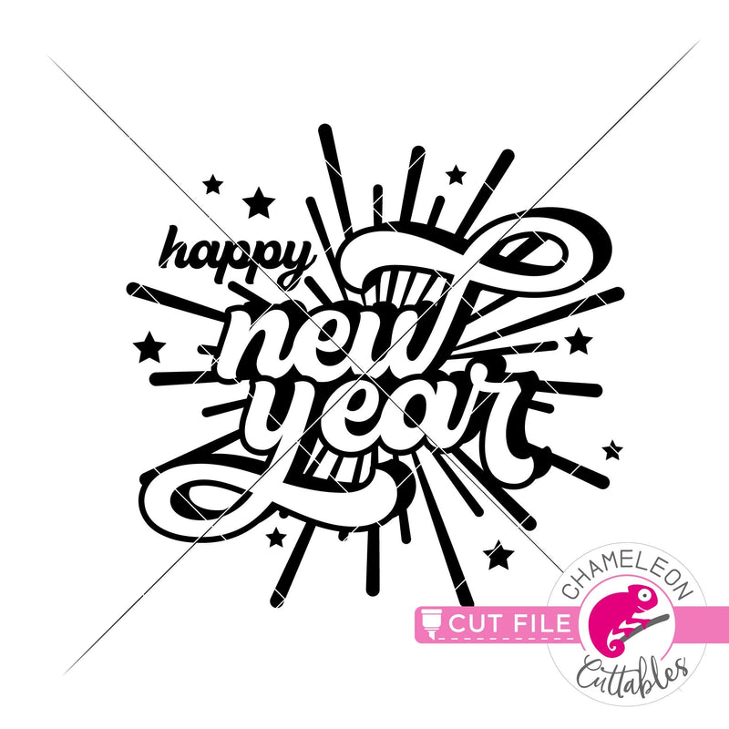Happy New Year Fireworks New Year's Eve svg png dxf eps jpeg SVG DXF PNG Cutting File