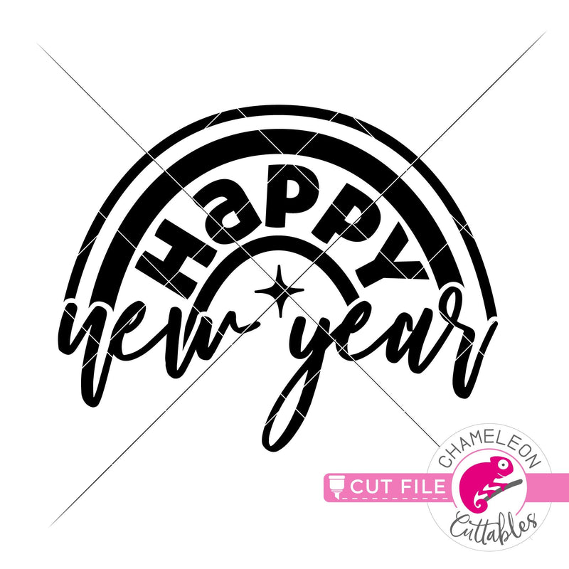 Happy New Year Rainbow New Year's Eve svg png dxf eps jpeg SVG DXF PNG Cutting File