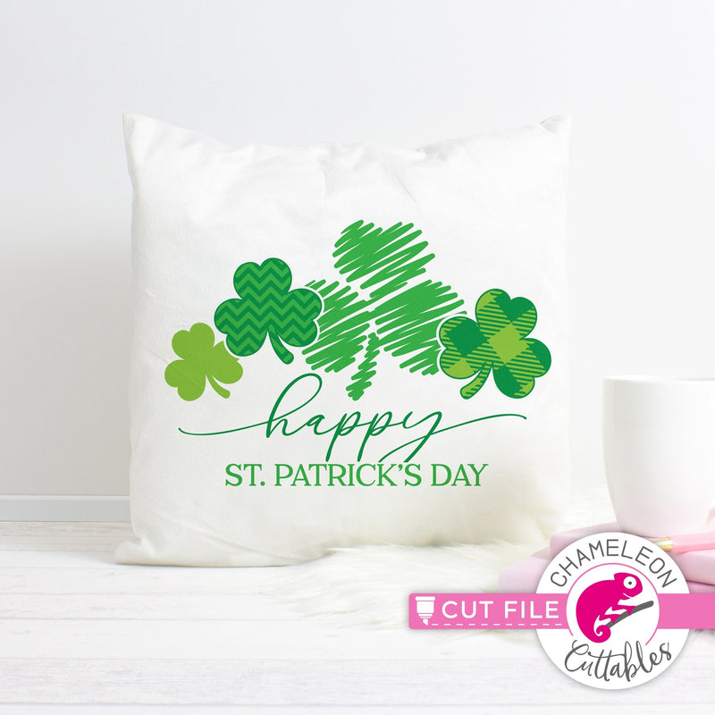Happy St. Patricks Day clovers with pattern svg png dxf eps jpeg SVG DXF PNG Cutting File