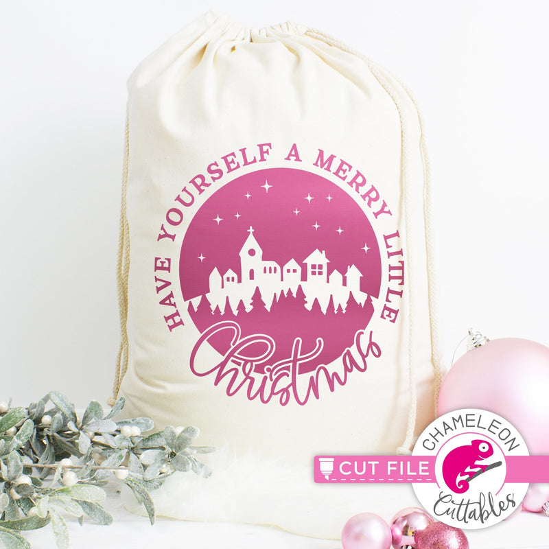 Have yourself a merry little Christmas Town round svg png dxf eps jpeg SVG DXF PNG Cutting File