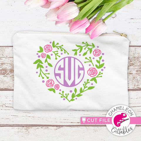 Heart with Flowers Monogram Frame svg png dxf eps