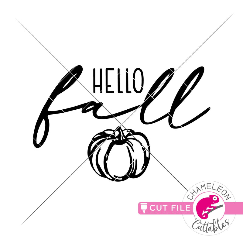Hello Fall pumpkin svg png dxf eps jpeg SVG DXF PNG Cutting File