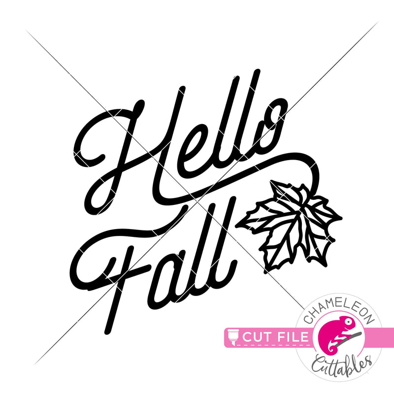 Hello Fall with Leaf svg png dxf eps jpeg SVG DXF PNG Cutting File