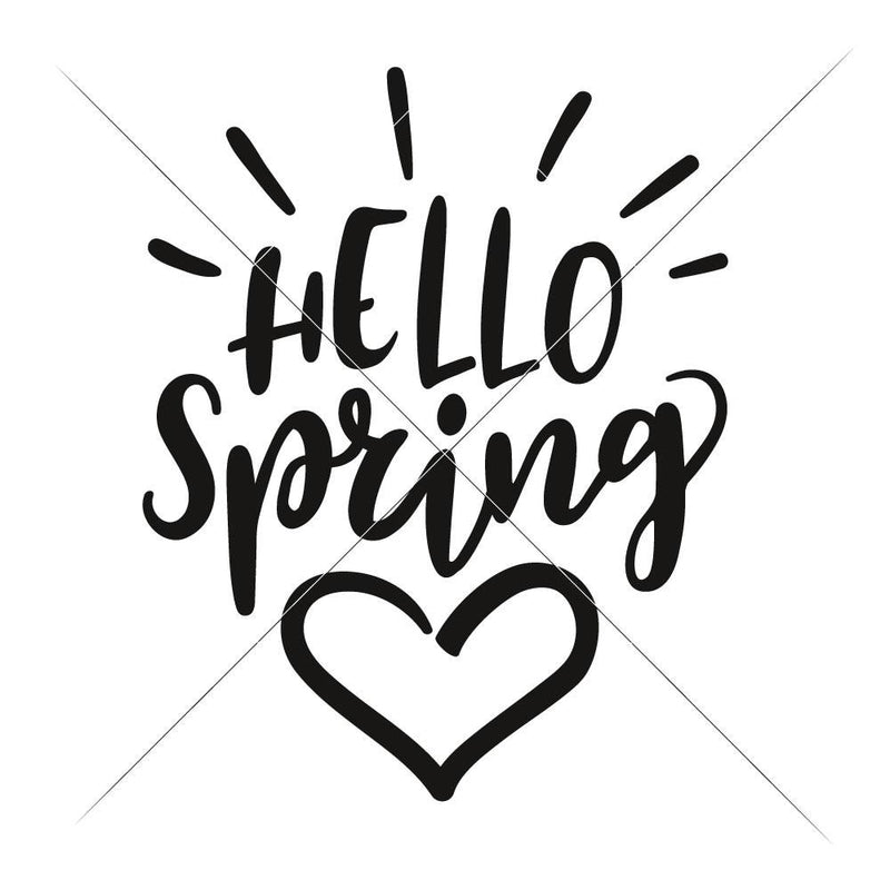 Hello Spring With Heart Svg Png Dxf Eps Svg Dxf Png Cutting File