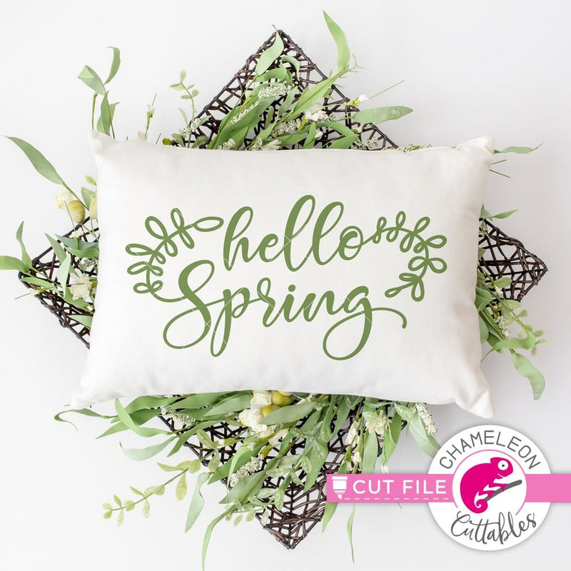 Hello Spring With Leaves Svg Png Dxf Eps Svg Dxf Png Cutting File