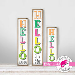 Hello Sunshine vertical Porch design svg png dxf SVG DXF PNG Cutting File