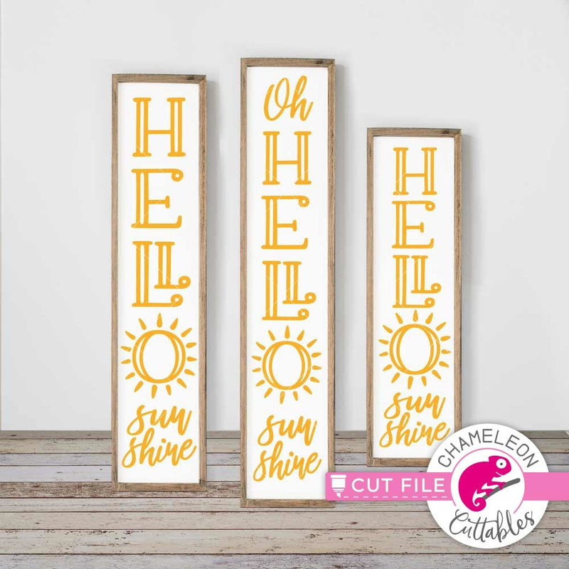 Hello Sunshine vertical svg png dxf SVG DXF PNG Cutting File