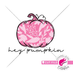 Hey Pumpkin with leaf pattern svg png dxf eps jpeg SVG DXF PNG Cutting File