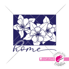 Home Colorado state flower blue Columbine svg png dxf eps jpeg SVG DXF PNG Cutting File