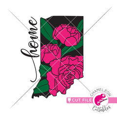 Home Indiana state flower peony layered svg png dxf eps jpeg SVG DXF PNG Cutting File