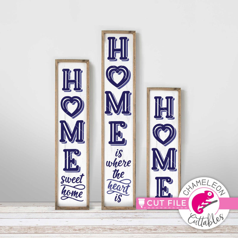 Home is where the Heart is vertical Porch design svg png dxf SVG DXF PNG Cutting File