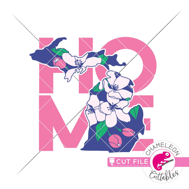 Home Michigan state flower apple blossom layered svg png dxf eps jpeg SVG DXF PNG Cutting File