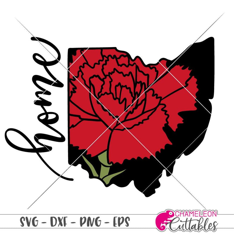 Home Ohio State Flower Red Carnation layered svg png dxf eps SVG DXF PNG Cutting File
