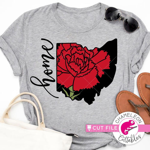 Home Ohio State Flower Red Carnation layered svg png dxf eps