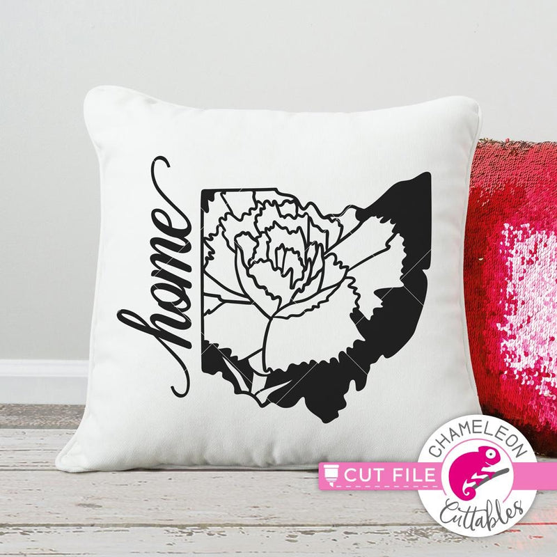 Home Ohio State Flower Red Carnation svg png dxf eps SVG DXF PNG Cutting File