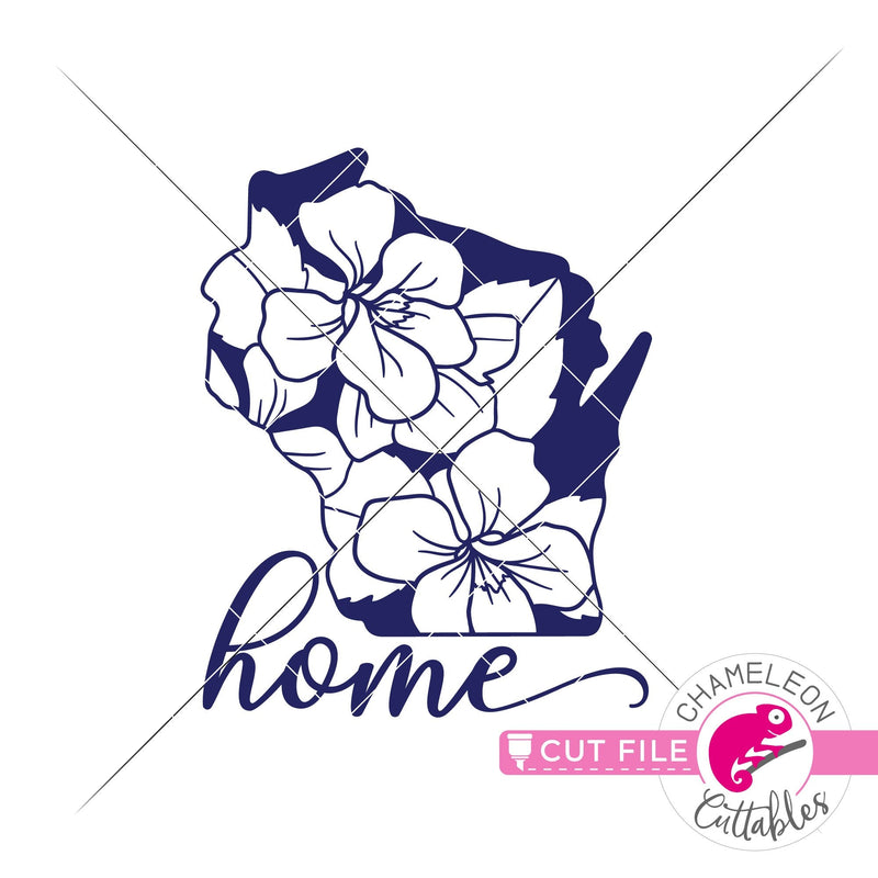 Home Wisconsin state flower blue violet svg png dxf eps jpeg SVG DXF PNG Cutting File