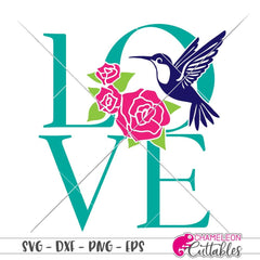 Hummingbird Love with Roses svg png dxf eps SVG DXF PNG Cutting File