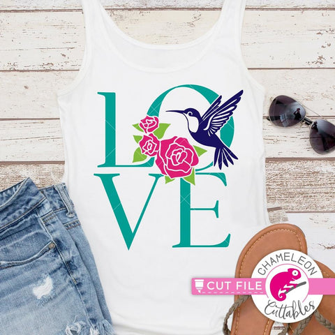 Hummingbird Love with Roses svg png dxf eps