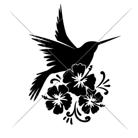 Hummingbird with Flowers svg png dxf eps