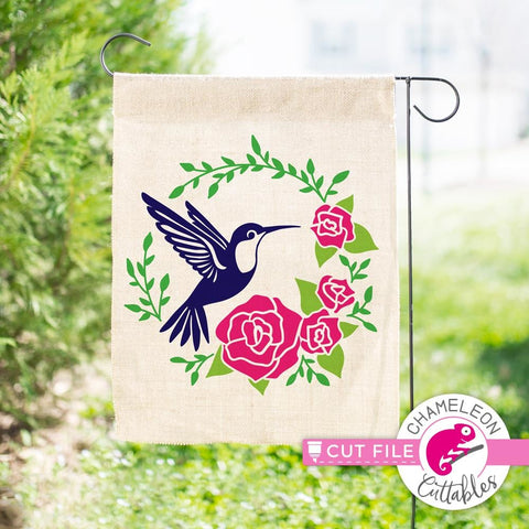 Hummingbird with Roses circle svg png dxf eps