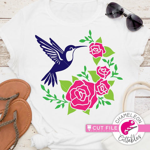 Hummingbird with Roses half circle svg png dxf eps