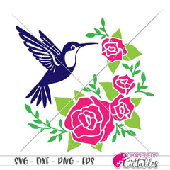 Hummingbird with Roses half circle svg png dxf eps SVG DXF PNG Cutting File