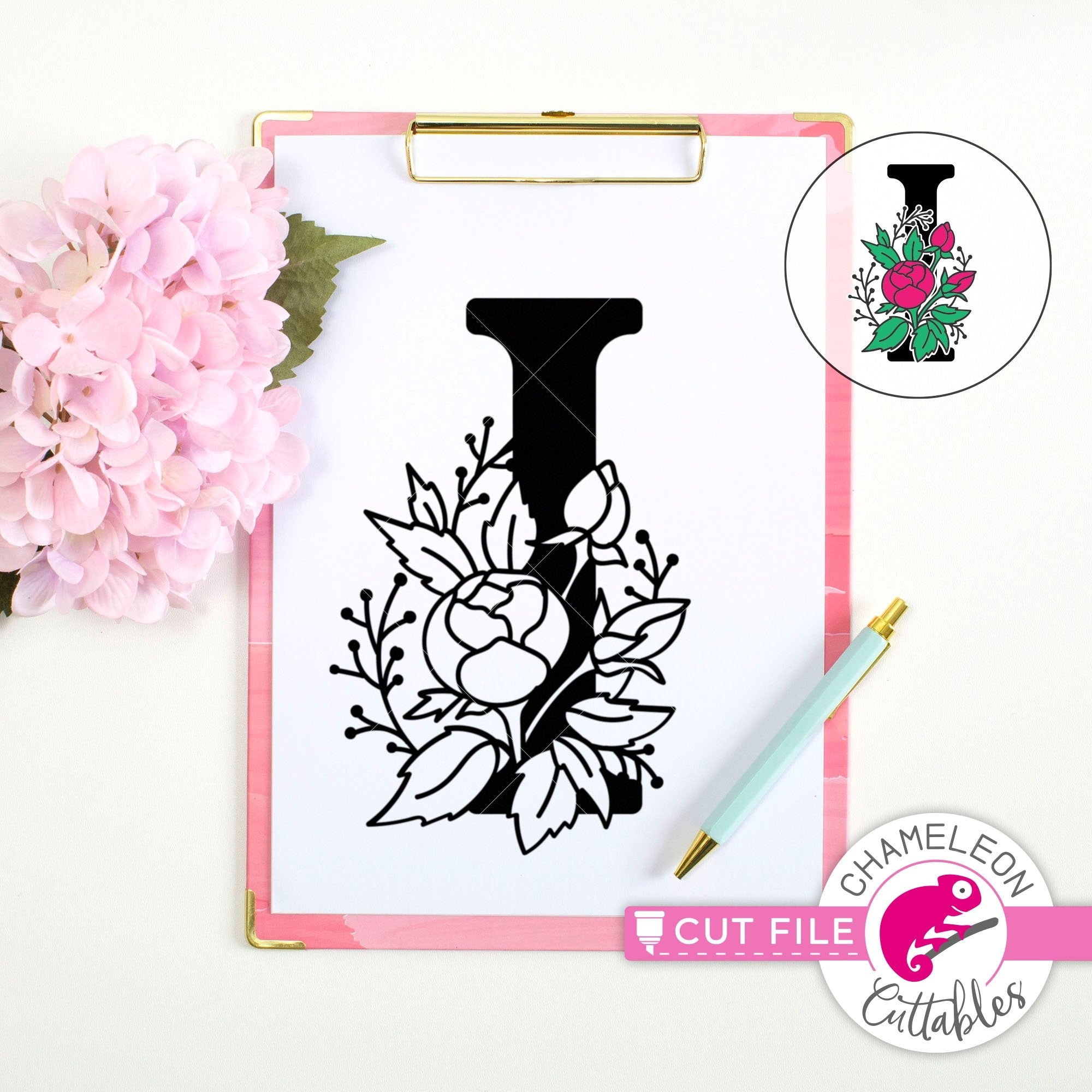 Lovely PNG SVG floral Monogram Q initial letter cutting files cricut Eps Png Dxf decorative flowers typography