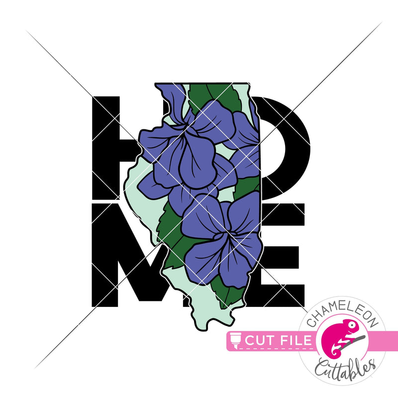 Illinois state flower violet home square svg png dxf eps jpeg SVG DXF PNG Cutting File