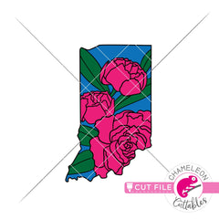 Indiana state flower peony layered svg png dxf eps jpeg SVG DXF PNG Cutting File