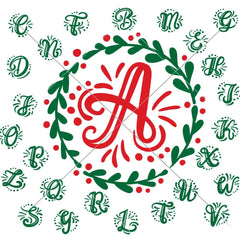 Initials with Mistletoe Wreath ABC Monogram svg png dxf SVG DXF PNG Cutting File