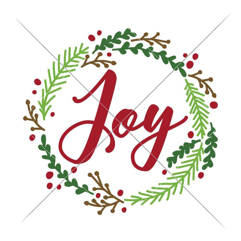Joy Christmas Wreath Svg Png Dxf Eps Svg Dxf Png Cutting File