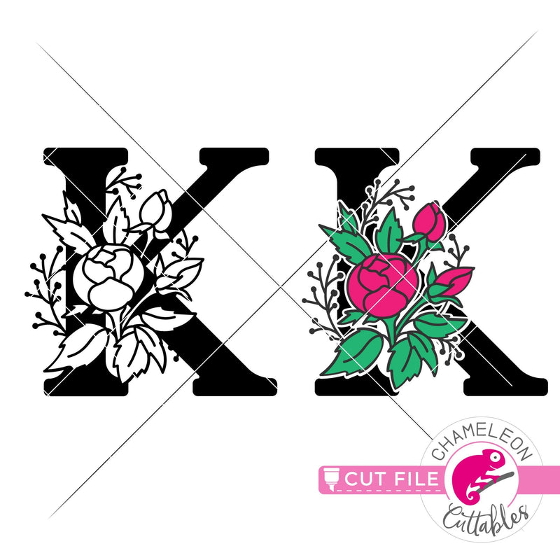 K Floral Monogram Letter with Flowers svg png dxf eps jpeg SVG DXF PNG Cutting File