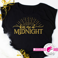 Kiss me at Midnight New Years Eve svg png dxf eps jpeg SVG DXF PNG Cutting File