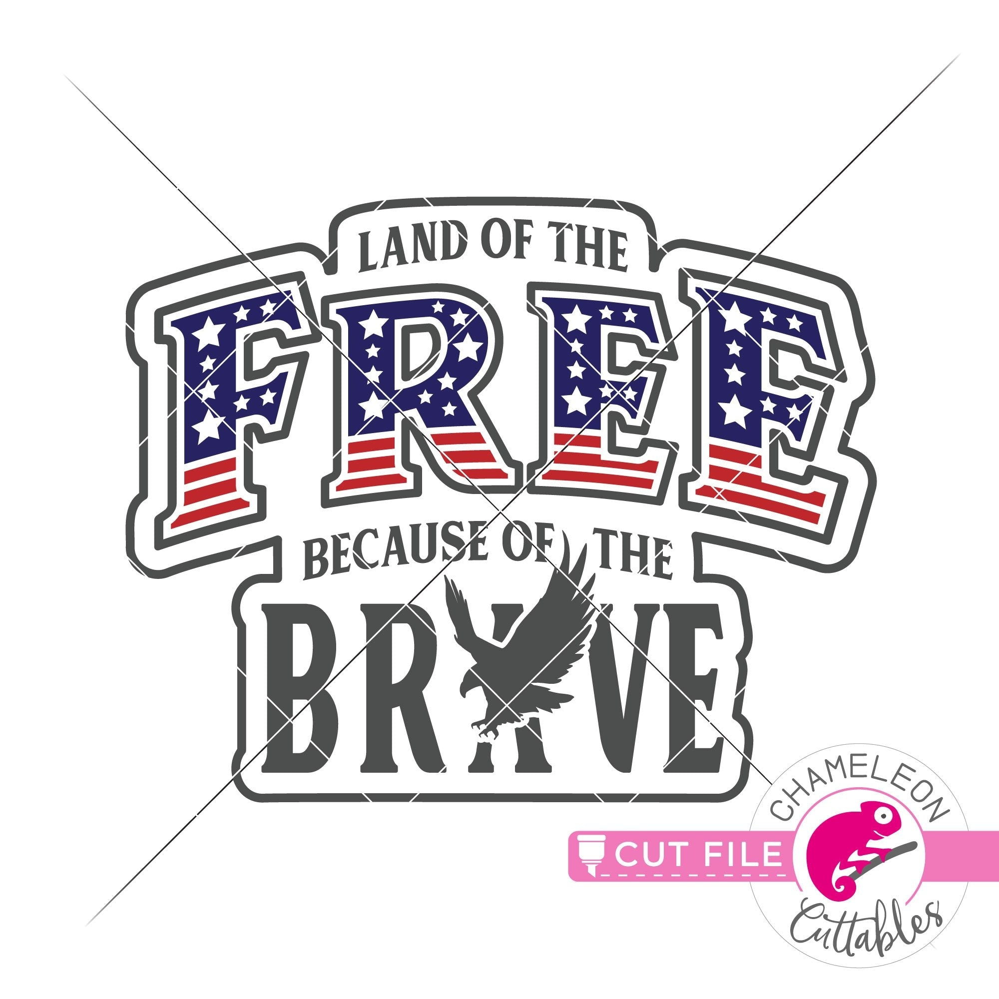 Land Of The Free Patriotic 4th Of July Svg Png Dxf Eps Jpeg Chameleon Cuttables Llc