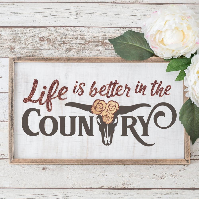 Life is better in the Country Cow Skull svg png dxf eps SVG DXF PNG Cutting File