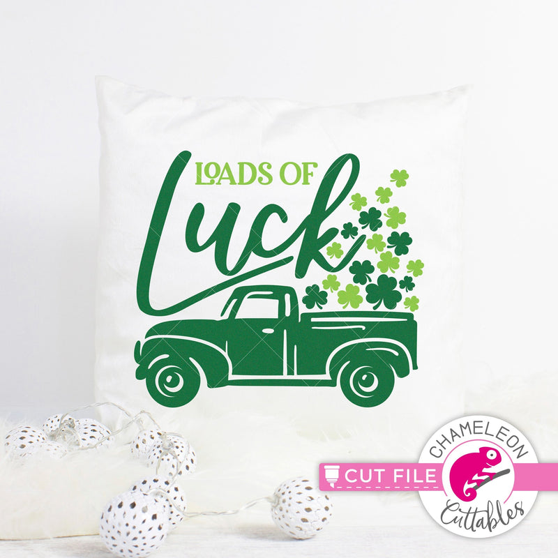 Loads of Luck St. Patricks Day truck with clovers svg png dxf eps jpeg SVG DXF PNG Cutting File
