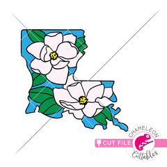 Louisiana state flower magnolia layered svg png dxf eps jpeg SVG DXF PNG Cutting File