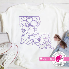 Louisiana state flower magnolia outline svg png dxf eps jpeg SVG DXF PNG Cutting File