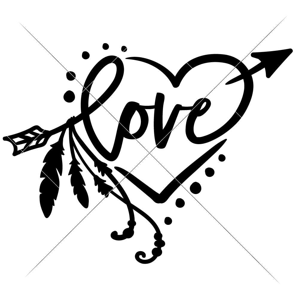 Love Arrow With Feathers And Heart Svg Png Dxf Eps Chameleon Cuttables Llc